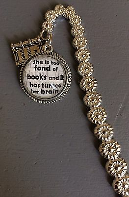 She is too fond of books, personalised bookmark, silver