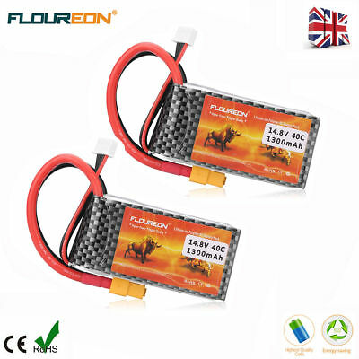 4S 14.8V 40C 1300mAh LiPo RC Battery XT60 for RC Helicopter Airplane Car Drone