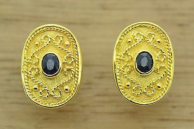 Byzantine Sapphires Earrings Etruscan Style 925 Sterling Silver GREEK ART