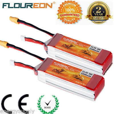 2x 3S 25C 11.1V 2200mAh Li-Po RC Battery XT60 for Car DJI Phantom Helicopter UK