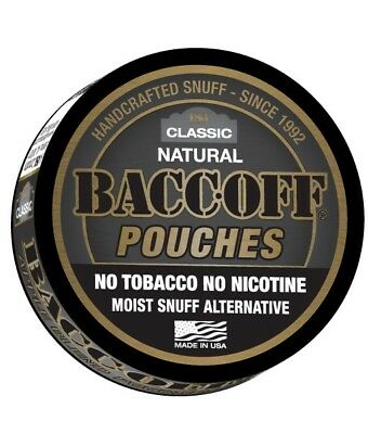 BACC-OFF Non-Tobacco Nicotine Free Herbal Snuff - Natural Pouches - 1 Can