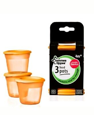 Tommee Tippee Essential Food Pots x 3  per pack