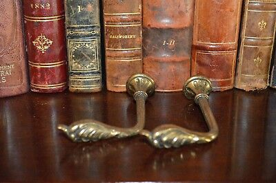 Vintage Pair French Brass Drapery Tie Backs Hooks