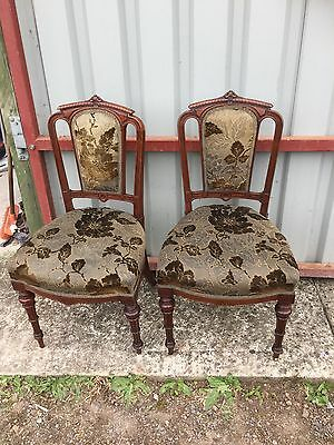 2 GORGEOUS Mahogany Dining Chairs Opulent Style Period House Statement 15/8/M