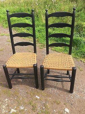 2 Tall Black Ladder Back Kitchen Chairs  String Seats Need Repair 21/8/J