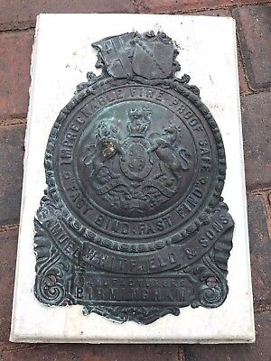Rare Antique Whitfield & Sons Impregnable Fire Proof Safe Plate / Sign
