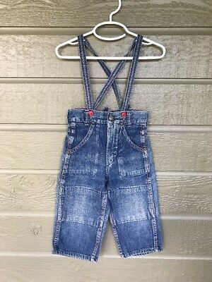 Vintage Kid's Denim Jeans with Overalls Straps Blue No Tags Toddler Boy Girl