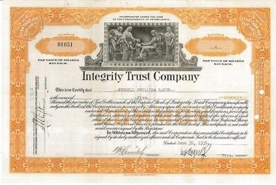 Integrity Trust Company > 1934 Pennsylvania old stock certificate share
