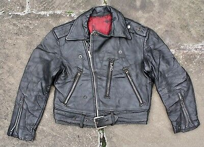 VTG 50s AMAZING STEERHIDE LEATHER 'ONE STAR' MOTORCYCLE JACKET BIKER BOYS SIZE