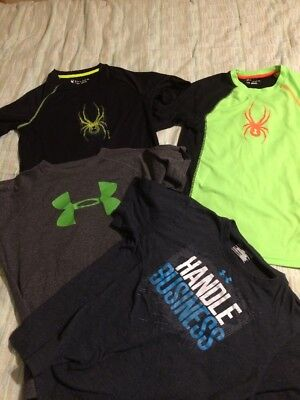 Lot Of Four Boys Shirts Under Armour And Spyder Size Large