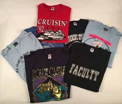 Lot of 7 Vintage T Shirts 80s/90s Soft 50/50 COTTON SCREEN STARS JERZEES M/L/XL