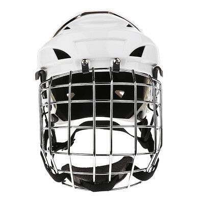 White Ice Hockey Helmet Cage Combo Steel Face Mask Adjustable Head Size - L