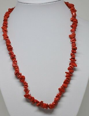Vintage Asian Red Colored Chip Stone Beaded Necklace ~ 18 inches long