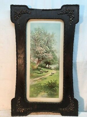 Vtg RARE Antique Victorian Barbola Ornate Frame Carl Weber? 1904 Lithograph Art
