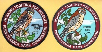 Pa Pennsylvania Game Commission NEW WTFW 1986 Kestrel / Hawk patch & decal