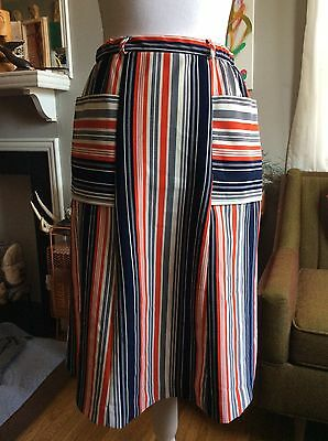 Vintage 70s Striped Polyester Womens Skirt Mid Length Red White Blue M/L