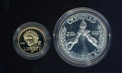 1988 United States Silver & Gold Proof Coin Set - Olympic Games