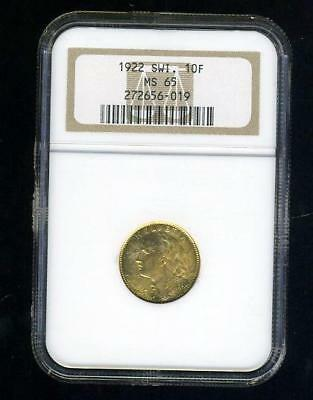 1922 Swiss Gold 10 Francs - NGC Graded at MS65