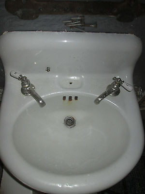 Antique Cast Iron White Porcelain Sink Bathroom Vintage Plumbing Hardware