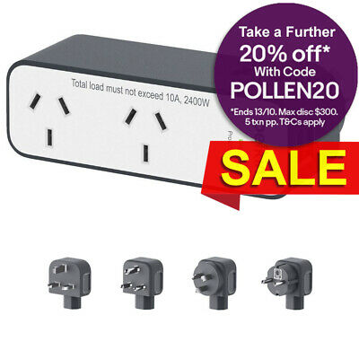 Belkin 2 Way Outlet Universal Travel Adapter Surge Protector/2.4A USB Charger