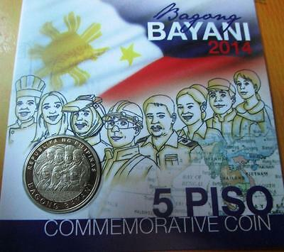 """2014 5-Piso Philippines Modern Heroes """"bagong Bayani"""" Commemorative Coin"""