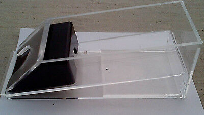 Professional grade 4 deck clear acrylic dealing shoe with black roller