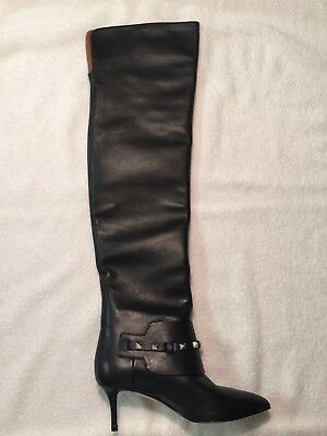 6a1c7fde198 Auth Valentino Caravani Rockstud Over the Knee Black Leather Boots shoes  size 5