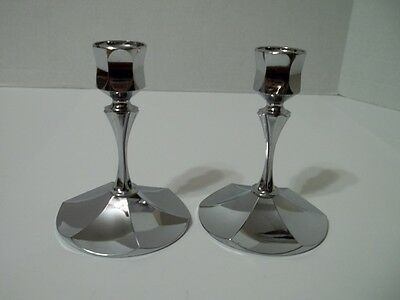 """1 Pair of Vintage Chrome """"Irvinware"""" 4"""" Candle Holders USA"""
