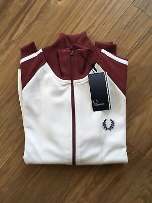 AUTH NWT Fred Perry Twin Tapped Funnel NK Track Jacket Sz S MSRP $95