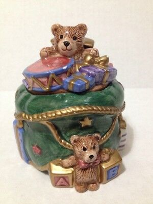 Fitz and Floyd 1994 Hand Painted Christmas Bear Trinket Box/Candle Holder