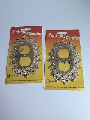 Vintage Retro Metal Ornate Pair of Outlet Plate Covers Starburst NEW OLD STOCK!