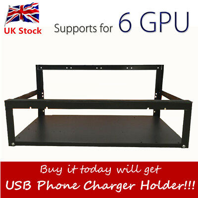 UK Crypto Coin Open Air Mining Miner Frame Rig Case up to 6 GPU ETH BTC Ethereum