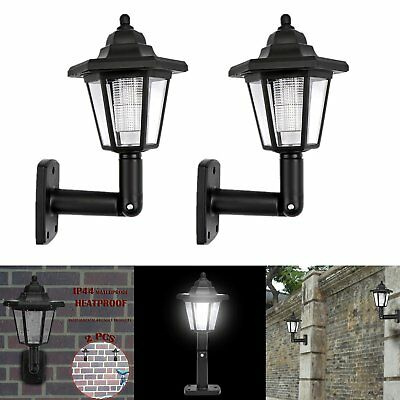 2PCS Solar Powered Wall Mount LED Light Outdoor Garden Path Landscape Fence Lamp