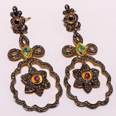 Victorian Vintage Unique Style 4.05ct Rose Cut Diamond Emerald Ruby Earring