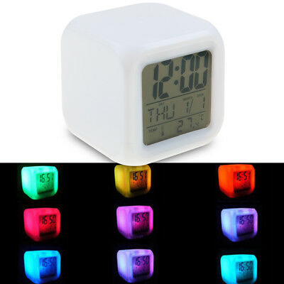Home Bedroom Kid 7 Color LED Digital Glowing Alarm Clock Thermometer Night Light