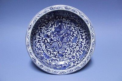 18th Chinese Blue and White dragon pattern brush washer #007