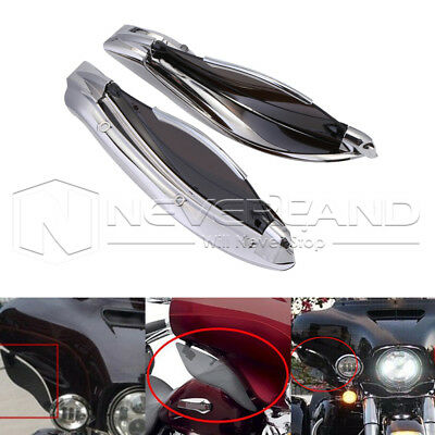 Chrome Smoke Adjustable Fairing Side Wings Air Deflectors For Harley Touring