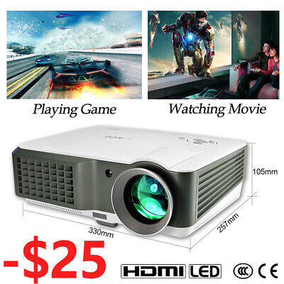 4000Lumen Video Home Projector LED 7000:1 HD 1080p Home Theater 2*HDMI LCD 2*USB