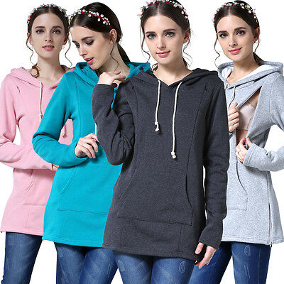 US Stock Maternity Clothes Breastfeeding Tops Women Hoodie Winter Nursing Tops