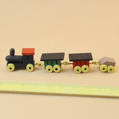 1:12 Painted Wooden Toy Train Set And Carriages Dollhouse Miniature Cute Gift