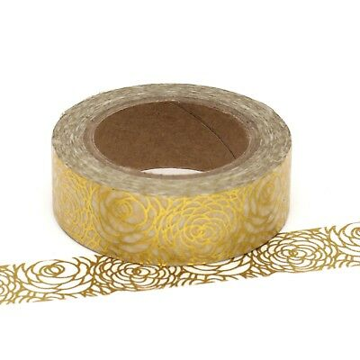 Foil Washi Tape Gold Floral Flower 15mm x 10m