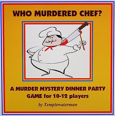 HOST A MURDER MYSTERY DINNER PARTY GAME ~ for 10-12 players ~ WHO MURDERED CHEF?