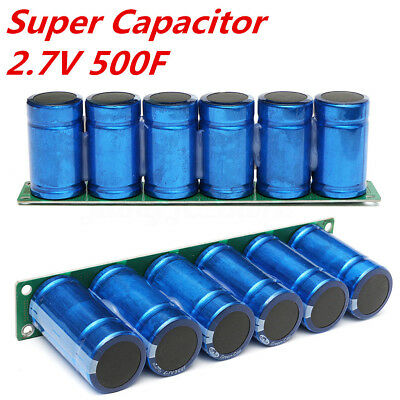 6Pcs 2.7V 500F Super Farad Capacitor Parallel With Protection Board 3.5CM X 6CM