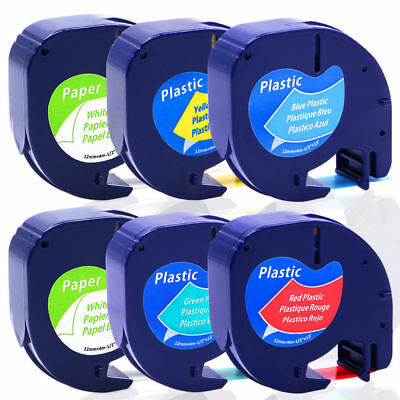 6PACK Label Tape Compatible for DYMO Letra Tag Tapes LT91330 91331 91332  91335