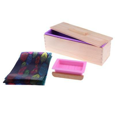 Rectangular Soap Silicone Loaf Mold Box Wood Soap Tray Holder Oil Paper Set
