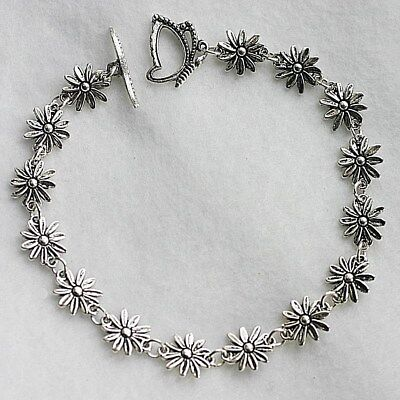 Butterfly Toggle Daisy Chain Flowers Boho Gypsy Summer Anklet / Ankle Bracelet