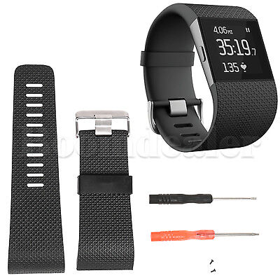 Silicone Watch Band Strap Wristband Bracelet + Tool for Fitbit Surge Tracker
