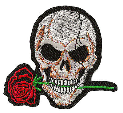 patch Biker badge embroidered badge Skull and Pink Death fusible patch DIY