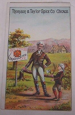 Early 1900's Trade Card-Red Cross Lye-Thomson & Taylor Spice Co-Chicago-Soap