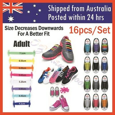 Elastic Silicone Shoe Laces Shoelaces Lazy No Tie Shoe Laces 1 Set 16pcs Adult